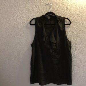 Black,ruffled v neck,sleeveless blouse xxl
